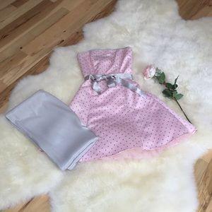 Jessica McClintock strapless pink formal dress.